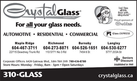 Crystal Glass Canada Ltd (604-273-8871) - Annonce illustrée