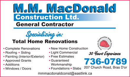 MacDonald M M Construction Ltd (902-736-0789) - Annonce illustr&eacute;e