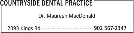 Countryside Dental Practice (902-567-2347) - Annonce illustrée - Dr. Maureen MacDonald