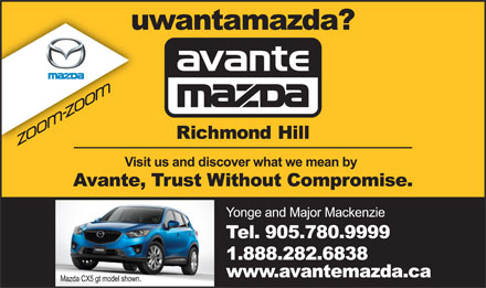 Avante Mazda (905-780-9999) - Display Ad