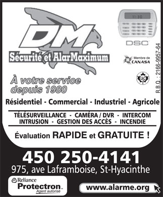 D M Sécurité & AlarMaximum (450-250-4141) - Display Ad