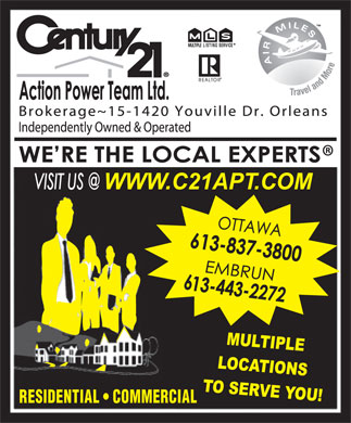 Century 21 Action Power Team (613-837-3800) - Annonce illustr&eacute;e - RESIDENTIAL   COMMERCIAL