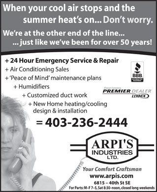 Arpi's Industries Ltd (403-798-0955) - Display Ad