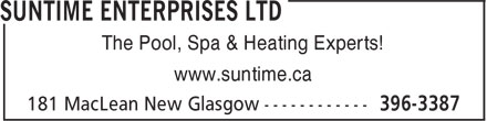 Suntime Enterprises Ltd (902-396-3387) - Annonce illustrée - The Pool, Spa & Heating Experts! www.suntime.ca