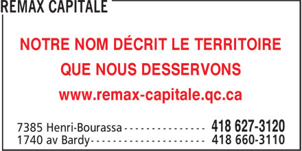 Remax Capitale (418-627-3120) - Annonce illustr&eacute;e