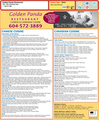 Golden Panda Restaurant (604-572-3889) - Menu