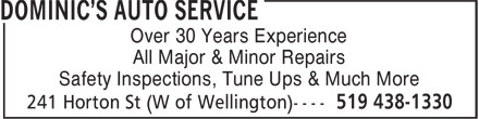 Dominic's Auto Service (519-438-1330) - Display Ad