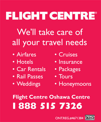 Flight Centre (1-888-515-7326) - Display Ad