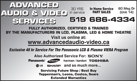Advanced Audio & Video Services (519-686-4334) - Display Ad