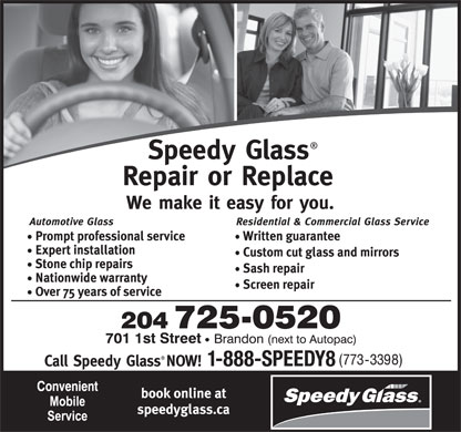 Speedy Glass (204-725-0520) - Display Ad