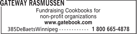 Gateway Publishing Co Ltd (204-222-4294) - Annonce illustrée - Fundraising Cookbooks for non-profit organizations www.gatebook.com