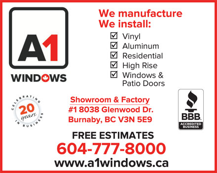 A-1 Window Mfg Ltd (604-777-8000) - Display Ad