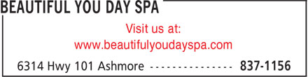 Beautiful You Day Spa (902-837-1156) - Annonce illustrée - Visit us at: www.beautifulyoudayspa.com