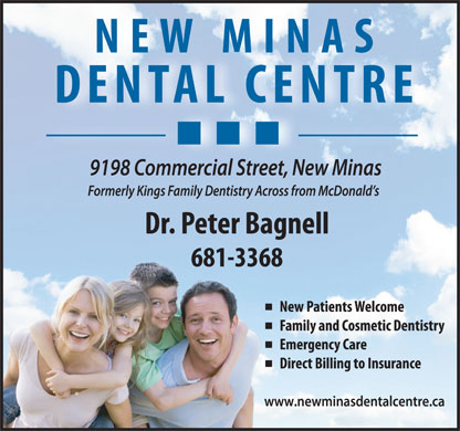 New Minas Dental Centre - Dr Peter Bagnell (902-681-3368) - Display Ad