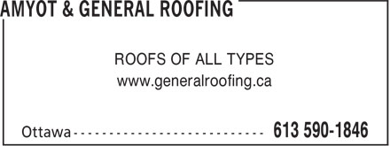 Amyot & General Roofing (613-590-1846) - Annonce illustrée - ROOFS OF ALL TYPES www.generalroofing.ca