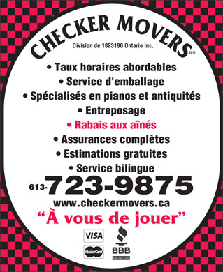 Checker Movers 2010 (613-604-0749) - Annonce illustrée