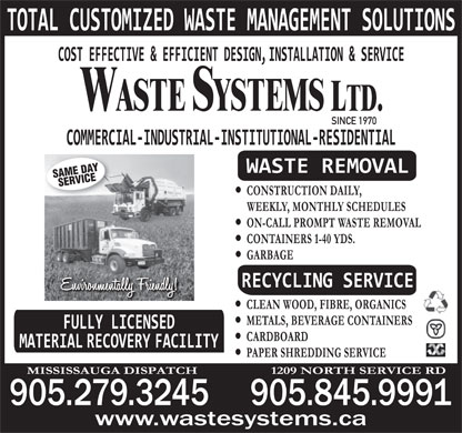 BFI Canada Inc (905-845-9991) - Display Ad - SINCE 1970 SAME DAY SERVICE