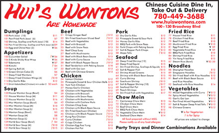 Hui's Wontons Inc (780-449-3688) - Annonce illustrée - Party Trays and Dinner Combinations Available
