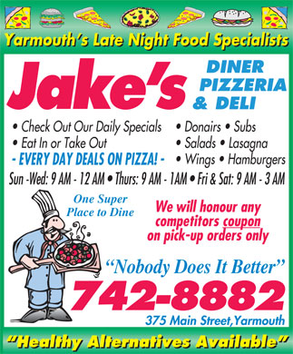 Jake's Diner Pizzeria &amp; Deli (902-742-8882) - Annonce illustr&eacute;e