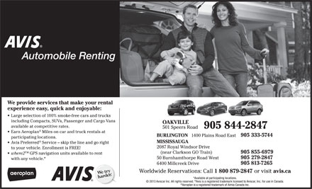 Avis Automobile Renting (905-844-2847) - Display Ad
