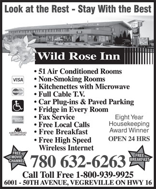Wild Rose Inn (780-632-6263) - Annonce illustrée - Eight Year Housekeeping Award Winner Free Breakfast