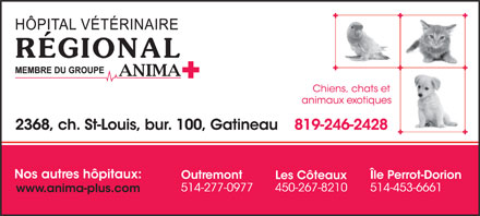 H&ocirc;pital V&eacute;t&eacute;rinaire R&eacute;gional (819-246-2428) - Annonce illustr&eacute;e