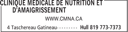 Clinique M&eacute;dicale de Nutrition et D'Amaigrissement (819-773-7373) - Annonce illustr&eacute;e