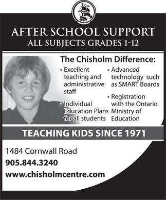 Chisholm Educational Centres (905-844-3240) - Display Ad