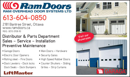 Ram Overhead Door Systems Ltd (613-699-2304) - Display Ad - RAM OVERHEAD DOOR SYSTEMS LTD RAM OVERHEAD DOOR SYSTEMS LTD RAM OVERHEAD DOOR SYSTEMS LTD RAM OVERHEAD DOOR SYSTEMS LTD