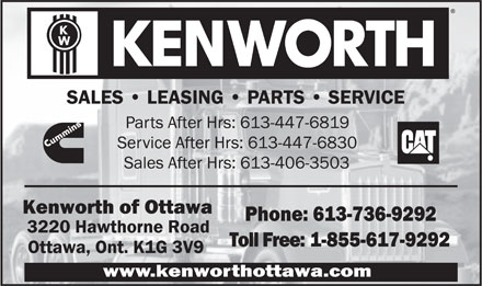 Kenworth Of Ottawa (613-736-9292) - Display Ad - SALES   LEASING   PARTS   SERVICE SALES   LEASING   PARTS   SERVICE