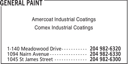 General Paint (204-982-6300) - Annonce illustrée - Amercoat Industrial Coatings Comex Industrial Coatings Amercoat Industrial Coatings Comex Industrial Coatings