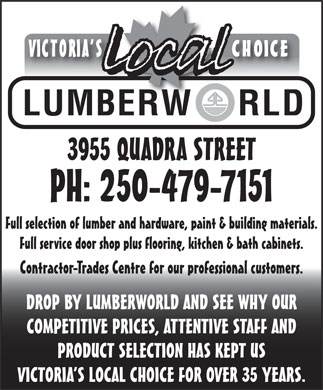 Lumberworld (250-479-7151) - Display Ad