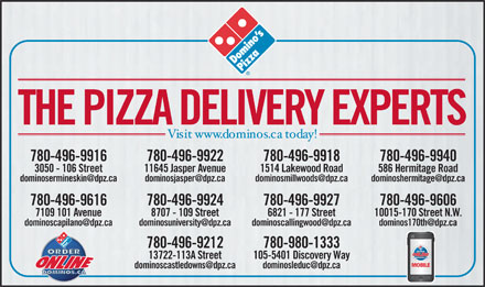 Domino's Pizza (780-496-9927) - Display Ad
