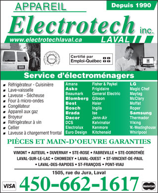 Appareil Electrotech Laval Inc 1505 Rue Du Jura Laval Qc