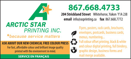 Arctic Star Printing Inc (867-668-4733) - Display Ad