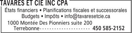Tavares Et Cie CPA (450-585-2152) - Display Ad - États financiers • Planifications fiscales et successorales - Budgets • Impôts • info@tavaresetcie.ca