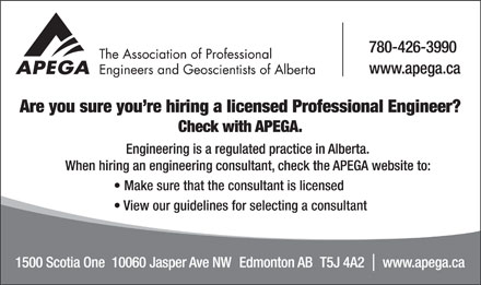 Association of Professional Engineers and Geoscientists of Alberta (APEGA) (780-426-3990) - Display Ad