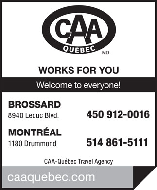 CAA-Quebec Travel Agency (450-465-0620) - Annonce illustrée