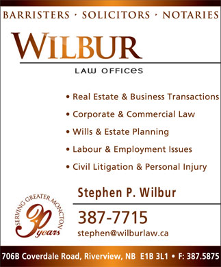 Wilbur Law Offices (506-802-7652) - Display Ad