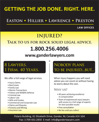 Easton Hillier Lawrence Preston (1-855-334-6067) - Display Ad