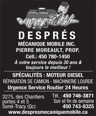 Despr s m canique mobile inc 3275 rue des chantiers for Porte fenetre boulet sorel tracy