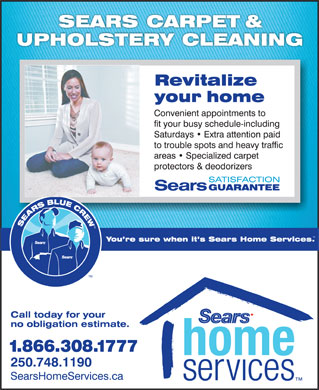 Sears Carpet & Upholstery Cleaning (250-748-1190) - Display Ad