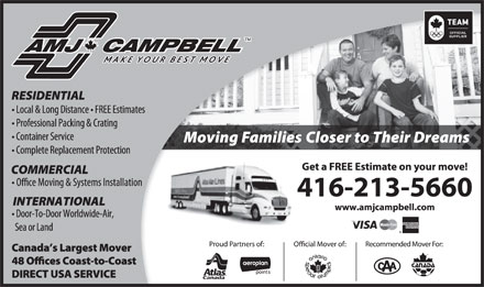 AMJ Campbell Van Lines (416-213-5660) - Display Ad