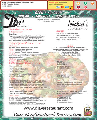 D-Jay's Restaurant Ichabod's Lounge & Patio (204-888-3361) - Menu