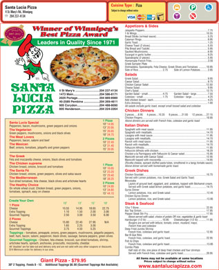 Santa Lucia Pizza (204-515-1482) - Menu