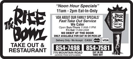 Rice Bowl Take Out (506-802-7337) - Annonce illustrée