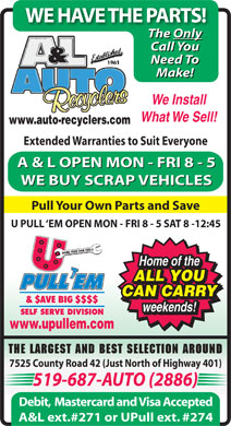 A & L Auto Recyclers Inc (519-687-2886) - Display Ad