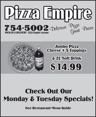 Pizza Empire (709-754-5002) - Display Ad