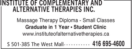 Institute Of Complementary And Alternative Therapies (416-695-4600) - Annonce illustrée - Graduate in 1 Year • Student Clinic www.instituteofalternativetherapies.ca Massage Therapy Diploma - Small Classes