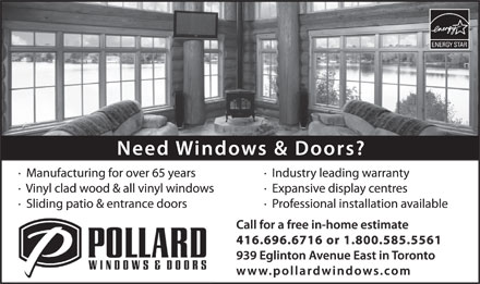 Pollard Windows & Doors (416-696-6716) - Annonce illustrée